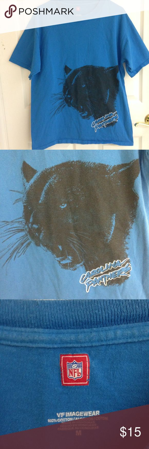NFL Carolina Panthers T-shirt NFL Carolina Panthers T-shirt. Blue with image of panther on front. T-shirt is slightly faded from washing. Size M VF Imagewear 100% cotton NFL Shirts Tees - Short Sleeve