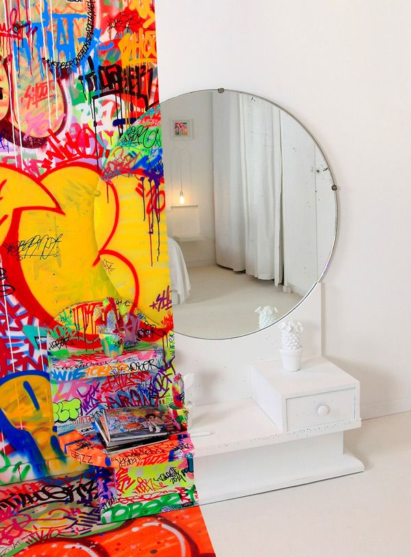 Graffiti artist Tilt went ker-azy on this Marseilles hotel room! The Au  Vieux Panier hotel in Marseille, France is now home to this half gr.