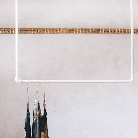 Pulverbeschichtet verzinktem Stahl Decke hängende Kleidung Schiene Display / Kleidung Lagerung / Shop Display in Oyster weiß