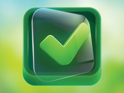 Dribbble - App Icon Design - Clear Green Check on Glass by Dash