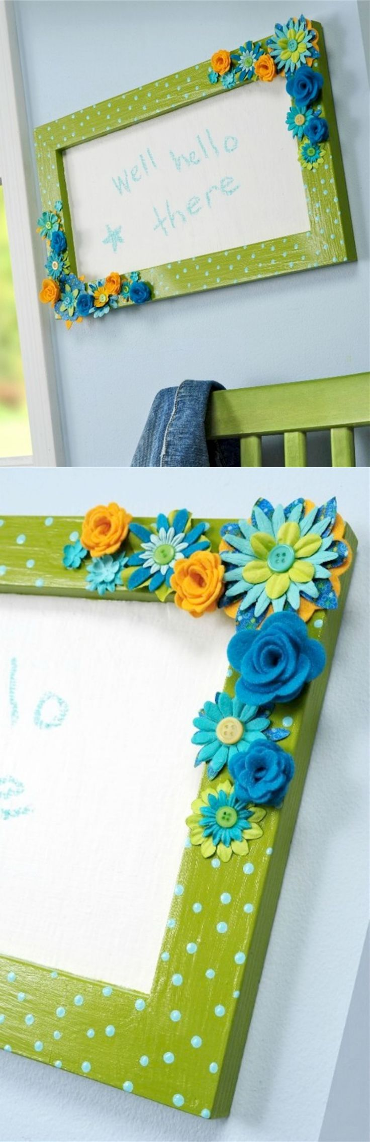 Have you ever heard of white chalkboard paint? It's amazing! This DIY chalkboard was made from an old picture frame and accented with flowers.