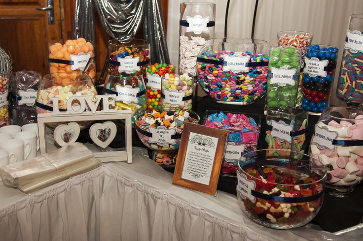 Candy Buffet with Peacock Labels