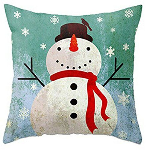 Christmas Snowman Throw Pillow Case Personalized Cushion Cover NEW Home Office Decorative Square 18 X
