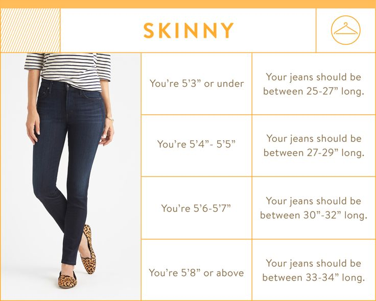 skinny jean inseam chart - skinny jean inseams by height