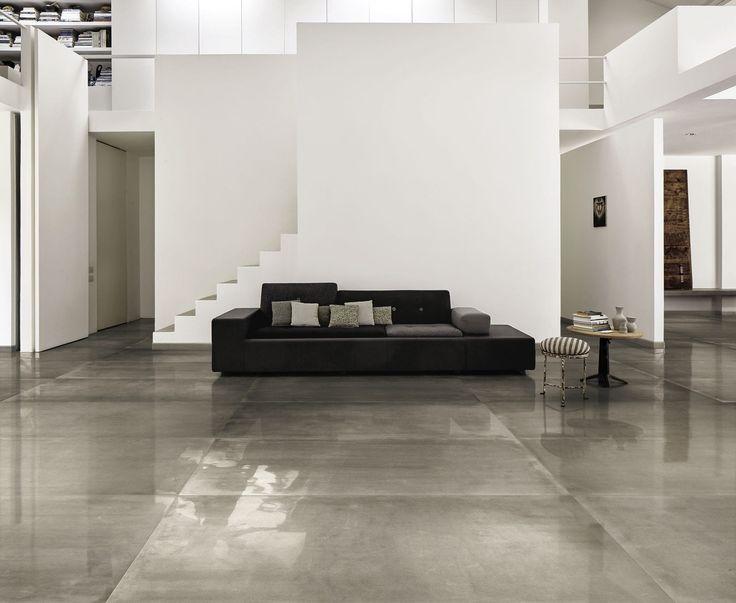 Ceramic floor tile / concrete look / high-gloss / smooth FRAME GREY BRILLANTE FAP ceramiche
