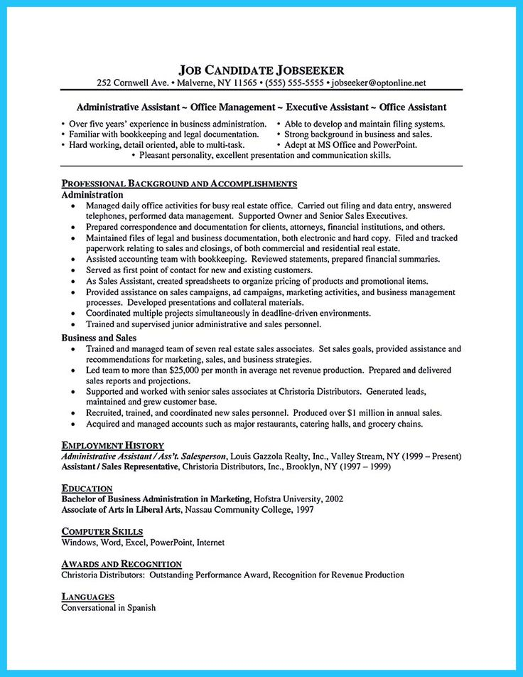 12 best Resume images on Pinterest Administrative assistant - sample of administrative assistant resume