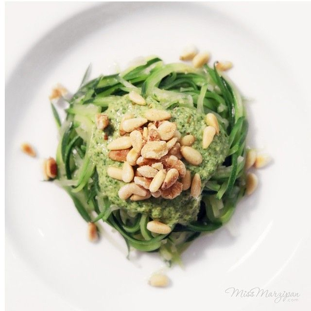 Basil and Spinach Pesto with Zucchini Noodles from the I Quit Sugar 8-Week Program.