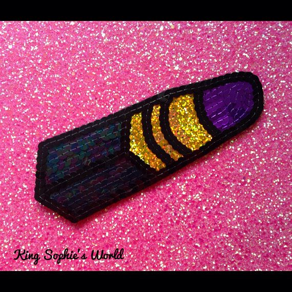 Embroidered Purple Lipstick Sequin Patch DIY by KingSophiesWorld, £79.99