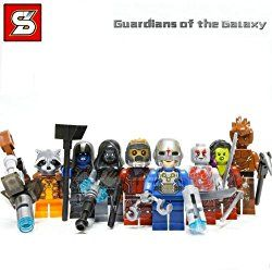 Guardians of the Galaxy Lego Characters - Lord, Gamora, Rocket Raccoon, Groot, Drax the Destroyer, Ronan the Accuser, a Nova Corps soldier, a Sakaaran Soldier, and the ole blue-ish/purple face meany Thanos