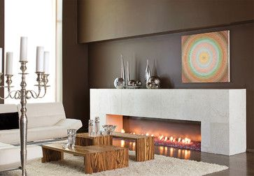 botticino marble tile -Marble Fireplace - contemporary - living room - atlanta - Halo Stone Designs