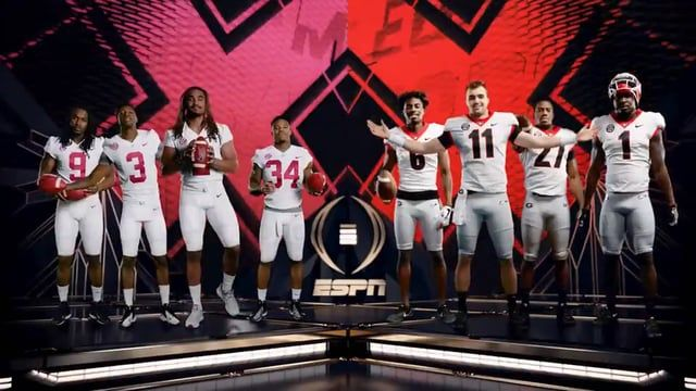 Take A Look At The Alabama Vs Georgia Animation Package Espn S Creative Services Have Produced In Advanc Cfp National Championship Channel Branding Alabama Vs