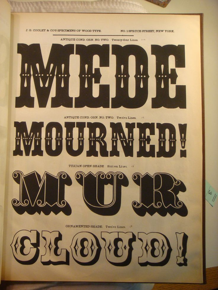 J.G. Cooley's Specimens of Wood Type.