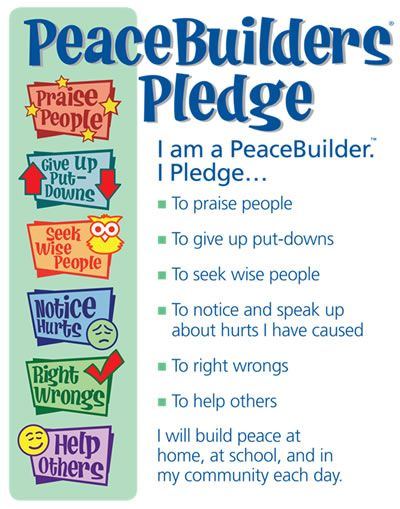 peacebuilders pledge - fabulous example of character in action