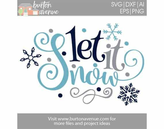 Free Svg Cut File Let It Snow W Snowflakes And Dots