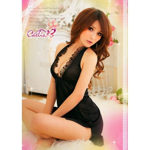 A232 Black  - 2pc : dress, gstring  Free Size LD 70-90cm, Hips 70-90cm, Bra 32-36    IDR 89.000