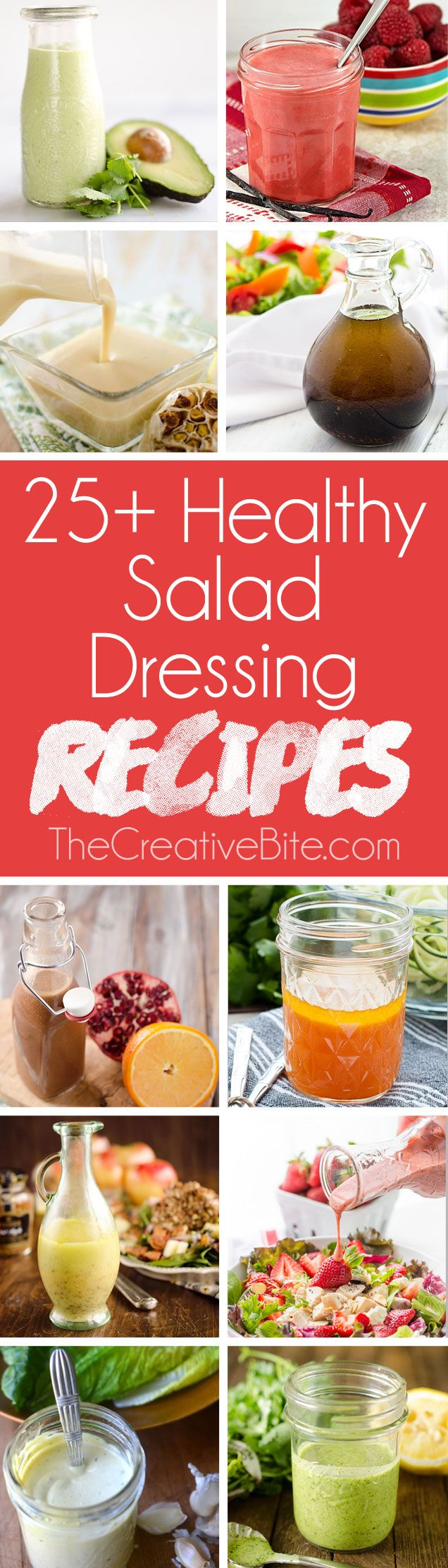 Check out these 25+ Healthy Salad Dressing Recipes perfect for every salad! From a light vinaigrette to creamy Greek yogurt based dressings, there are so many amazing homemade healthy salad dressing recipes to choose from. #Healthy #Salad #Dressings