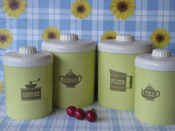 Kitchen Canister Set Of 4 Hard Plastic Nu Dell By LucyBettyNJune