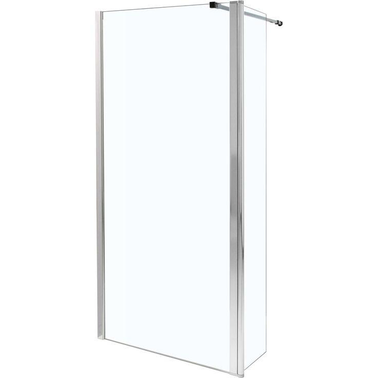 Paroi droite + mobile CONCERTO WALK 120 cm, hauteur 2m, verre trempé 6 mm, traité anticalcaire, profilé chromé largeur 1,6cm. Livré avec bra - ALTERNA - Sanitaire -CEDEO