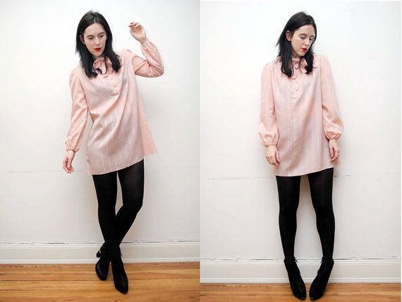 Vintage Sheer Pink Pussy Bow Tie Blouse by OutOfAStrobeVintage, £25.00