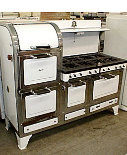 magic chef 8 burner gas stove white and black enamel with nickel plated trim - Magic Chef Oven