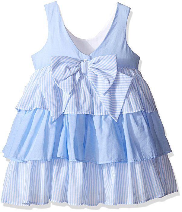 Laura Ashley London Girls' Little Girls' Gauzey Tiered Skirt Dress, Blue, 6X