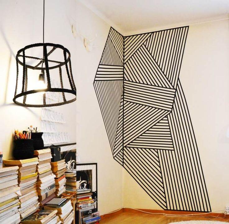 déco murale moderne: figures géométriques 3D en masking tape