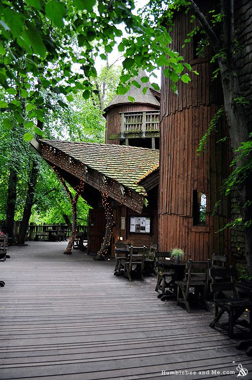 The Treehouse Restaurant at Alnwick Castle. Love the architecture.