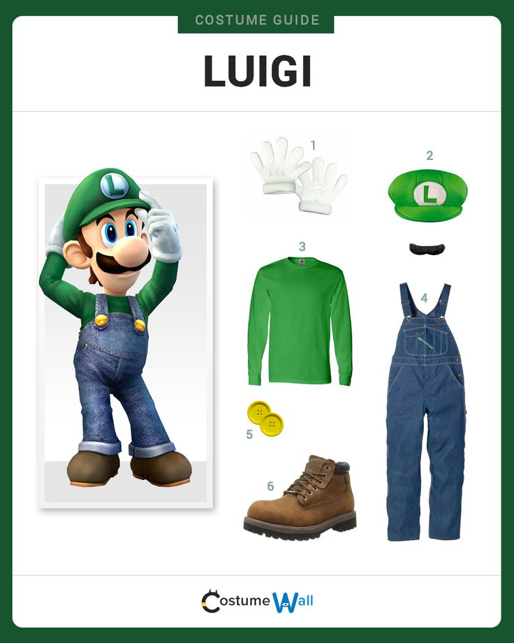 Dress Like Luigi from Super Mario Bros. See additional costumes and Luigi cosplays.