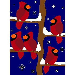 Cardinals Afghan Chart Graph for Winter or Christmas  - free pattern