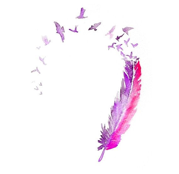 LOVE bird feather ART PRINT 12X16 original watercolor by PortLove, $35.00