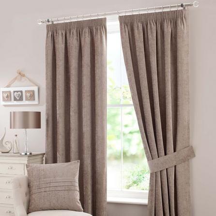 Dunelm Chenille Lined Plain Taupe Brown Pencil Pleat Curtains (168cm x 274cm)