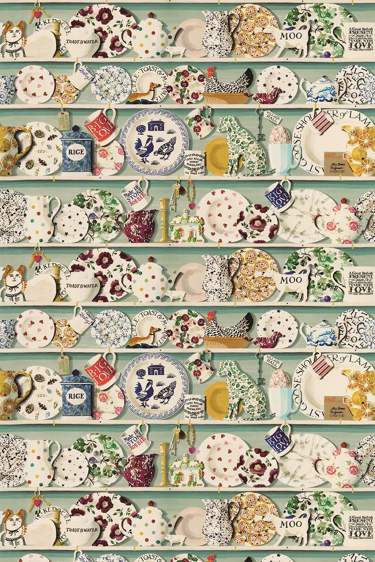 The Dresser Duck Egg/Multi (223457) - Emma Bridgewater Fabrics - The stunning digital wallpaper design has been translated into this richly detailed fabric - with shelves full of Emma Bridgewater china and trinkets. Shown in the duck egg colourway. Please request sample for true colour and texture.