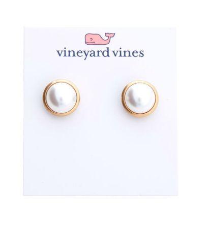 Vineyard Vines Pearl Cabochon Stud Earrings