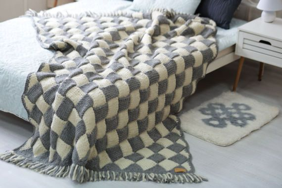 Knitted throw with a geometric pattern can decorate the interior of any home. This elegant wool blanket is cozy and very warm!  Knitted throw, Wool knit throw, Chunky knit blanket, Wool blanket