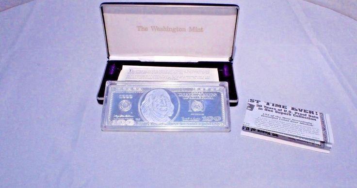 1999 Franklin Washington Mint $100 Silver Proof Bar .999 Fine Silver 4 Troy oz