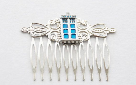 Silver Tardis Hair Clip / Timelord Hair by SmittenKittenKendall