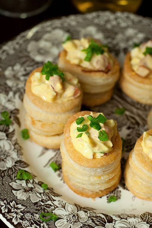 Vol-au-Vents with egg salad. Idk what this is but I love egg salad lol!