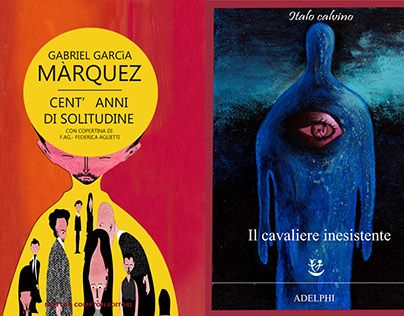 "two covers for "" One Hundred Years of Solitude "" by Gabriel Garcia Marquez and "" The Nonexistent Knight "" by Italo Calvino."