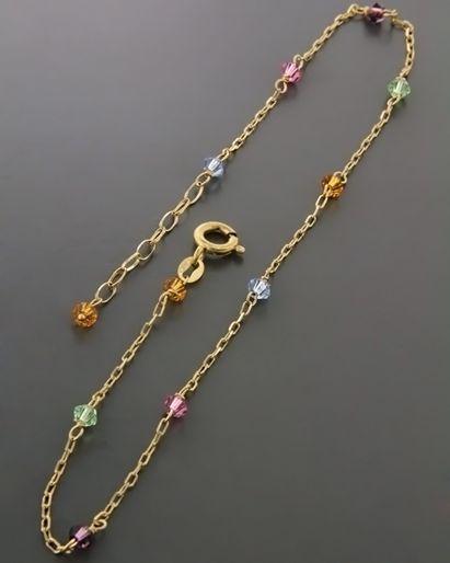 Αλυσίδα ποδιού χρυσή Κ14 με Ορυκτές πέτρες