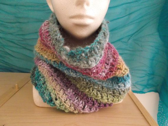 Chunky Cowl  Multicolour by LoveandSqualorCrafts on Etsy, $40.00