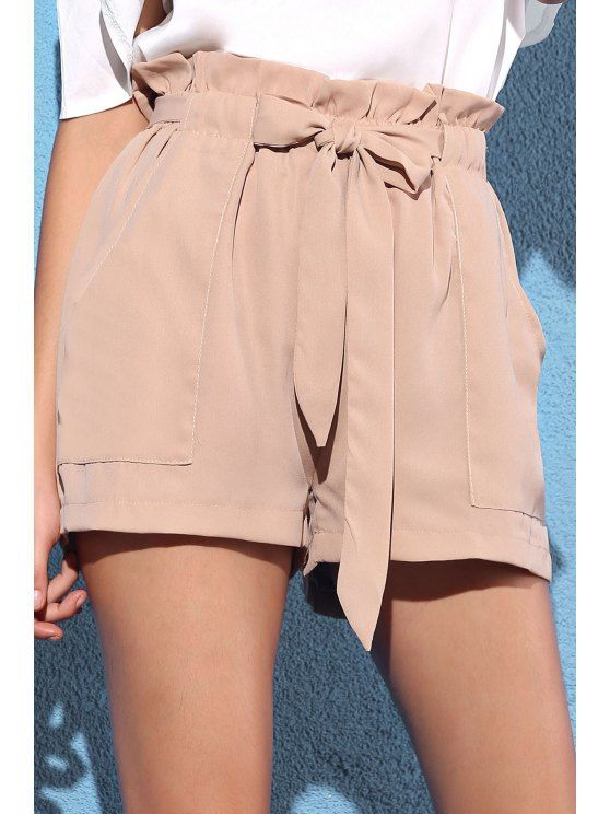 Pocket and Bowknot Design Chiffon Shorts - NUDE L