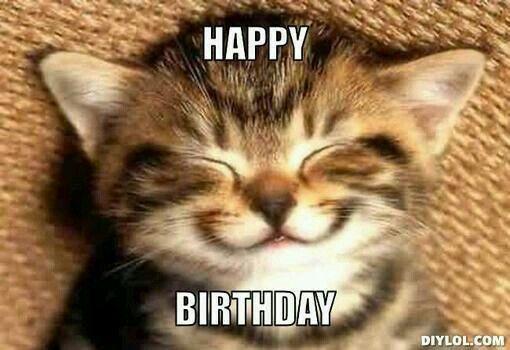Smiling birthday kitty