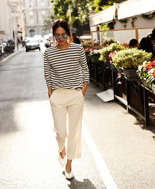 Outfit smart: straight pants and classy striped tee.
