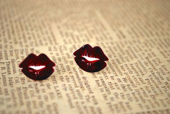 Red Lip Studs -- Earrings, Red Kissy Lip Earrings, Kiss Studs