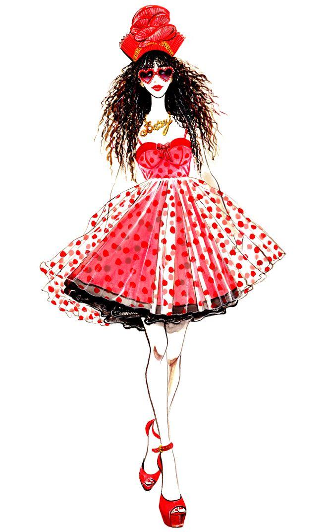 Inspired by Betsey Johnson Spring 2013 RTW collection. Illustration by Sunny Gu. #fashion #illustration #fashionillustration