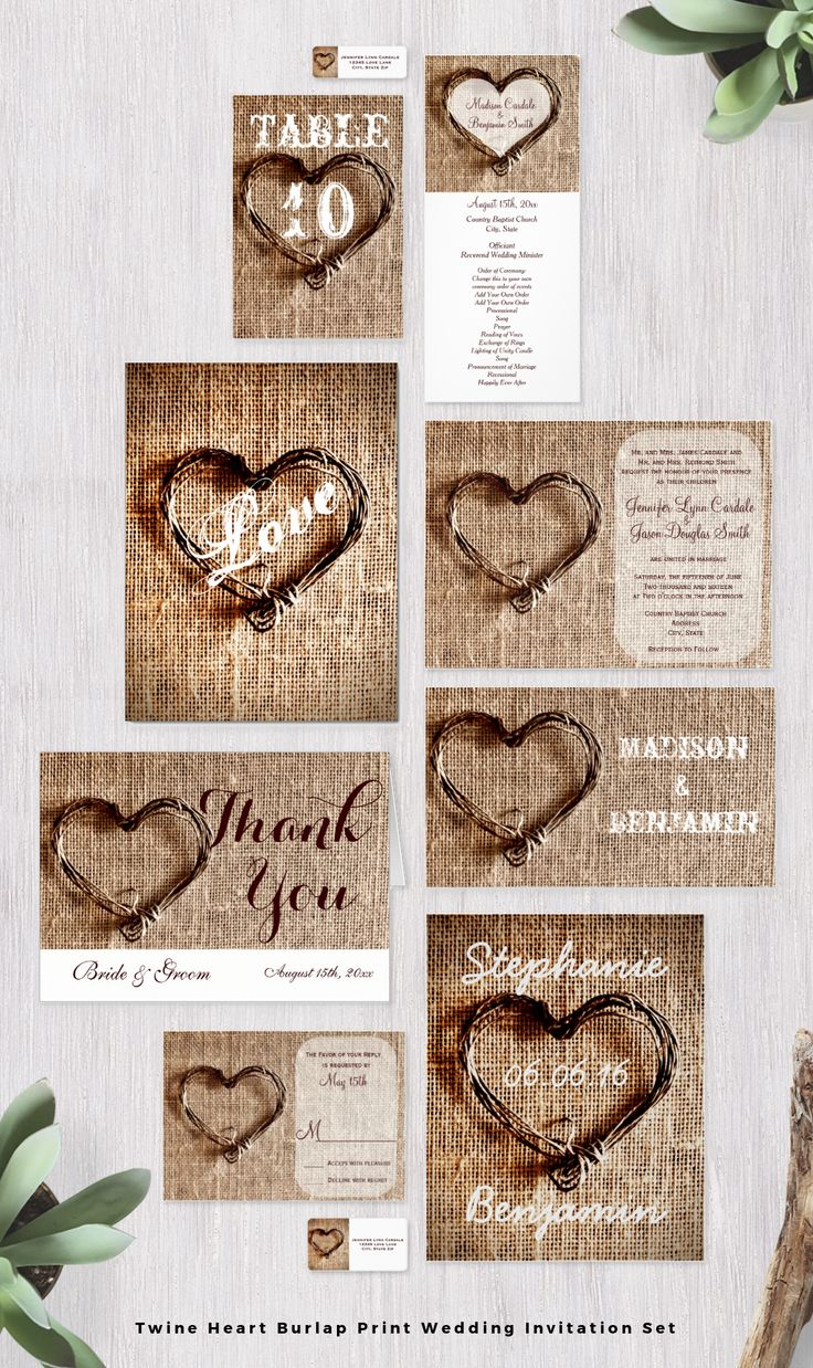 Rustic Country Twine Heart Burlap Print Wedding Invitation Set. This Unique  Design Is Perfect For