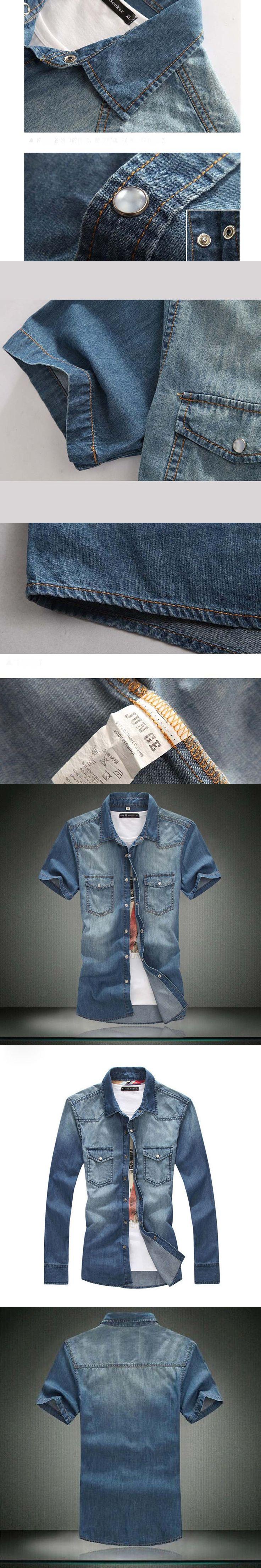 Plus Size 4XL 5XL Man Brand Clothing New Tops Fashion Summer Style cotton denim shirts masculina camisa shirt men chemise homme