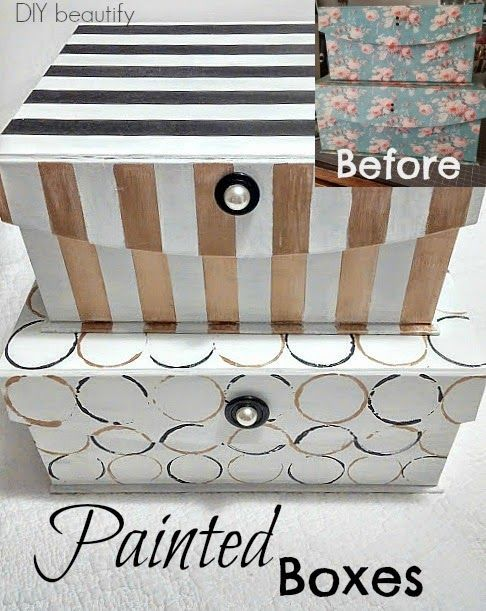 Before and After - Storage Boxes Upcycle with chalk paint DIY beautify