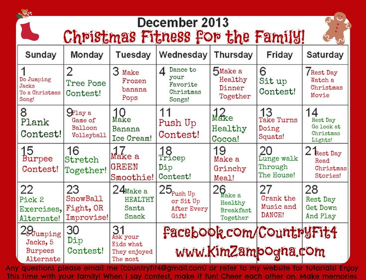 Christmas Family Fitness Challenge - Kim Zampogna  If you would like to be added into a private group where I will post the moves daily, recipes, and more inbox me and I will let you know how to get in. This is just a FUN FREE challenge to do with your kids Please share with family and friends and lets give our kids the BEST December ever! Check out more details at http://kimzampogna.com/uncategorized/christmas-family-fitness-challenge/ #Christmas #Fitness #Family