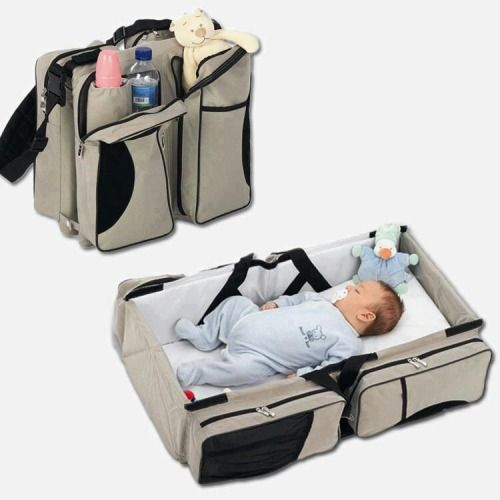 Baby Travel – A Diaper Bag That Turns Into a Baby Couch. Changing Table.